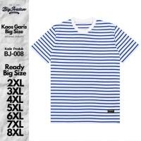 kaos polos hijau garis putih jumbo 3XL 4XL 5XL 6XL baju pria bigsize 7