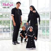 couple gamis Hulya Family set /Baju seragam gamis pesta set Keluarga - Hitam