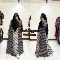 Baju Gamis Batik Sogan Monokrom Kain Katun Primisima Model Terbaru