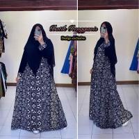 Baju Gamis Daily Batik Sogan Monokrom Model Terbaru