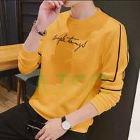 Kaos pria baju lengan panjang cowok bahan babyterry SIMPLE THINGS (M) - Kuning, M