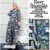 LSF fb maxi finlandia baju muslim gamis dress dengan motif army loreng