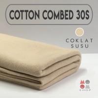 Bahan Kain Cotton Combed 30s Bahan Kaos Warna COKLAT SUSU meteran