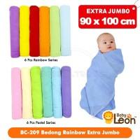 6pcs Bedong Bayi Rainbow JUMBO BABY LEON 100x90 BC-209 kain bedong