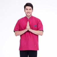 RAVAN 1001 Baju Muslim Koko Pria Lengan Pendek Katun Premium Maroon - M