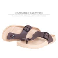 Sandal Pria Casual Sandal Jepit Model Birkinstock 1028M - KHAKI, 40