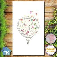 Hiasan DInding Poster Kayu Quotes Flower Balon l Hiasan Rumah