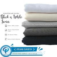 Jilbab Sekolah Segi Empat Saudia Square - Black n White Series
