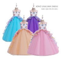 Dress UNICORN Premium FREE BANDO / Gaun Little Pony Import Kekinian