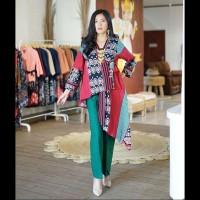setelan celana kulot atasan kimono ethnic tenun blanket batik modern