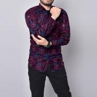 Baju batik pria lengan panjang premium slimfit batik songket