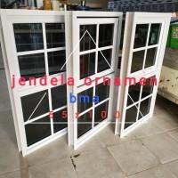jendela aluminium 55x100 ornamen (gandeng 1hidup, 1mati)