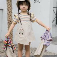 dress salur import anak perempuan uk 2-6 tahun motif rabbit