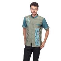 Baju Koko Pria Inficlo EXo Warna Hijau Kombinasi Bahan Katun (SDR 136)