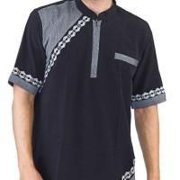 Baju Koko Pria Inficlo EXo Warna Hitam Kombinasi Bahan Kelly (SID 079)