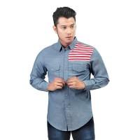 Baju Kemeja Pria Inficlo EXo Bahan Denim Warna Biru (SGB 618)