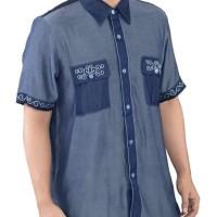 Baju Koko Pria Inficlo EXo Warna Biru Kombinasi Bahan Katun (SSK 390)