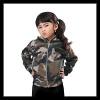 IJDGDE jaket baju hangat hoodie loreng army anak perempuan laki-laki