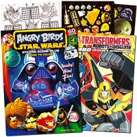 Angry Birds and Transformers Coloring Book Bundle with Angry Birds Sti