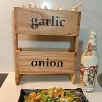garlic onion rak bawang tempat bumbu - Natural Kayu Terjamin