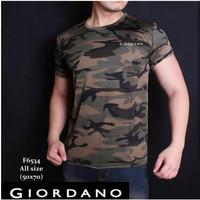 Baju Kaos Army GIORDANO Hijau Loreng Fashion Pria Wanita