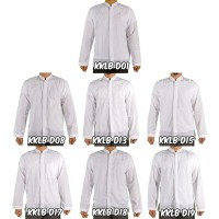Muscle Fit Baju Koko Pria Lengan Panjang - Putih - 1pcs