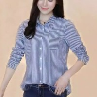 kemeja salur stripe garis garis wanita baju atasan blouse bluss hem