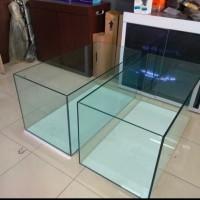 aqurium 100x50x50 tebal 10mili kaca baru gosok halus rimless