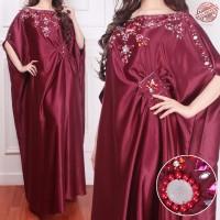 Kaftan jumbo paula maroon baju muslim pesta mewah murah bc KTF