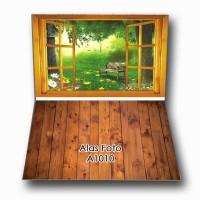 A1010 Alas Foto Background Lipat A1+ motif kayu rumput bata putih