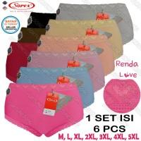 6 Pcs Celana Dalam Wanita Sorex Renda Premium Ukuran Standar & Jumbo