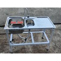 Bak Cuci Piring Portable Wastafel Kaki Rak Kitchen Sink westafel Set