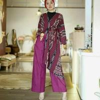 setelan celana kulot atasan kimono ethnic tenun blanket AT001