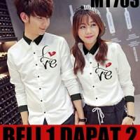 KEMEJA COUPLE/KEMEJA PASANGAN/BAJU COUPLE KOREA LOVE LATIN GROSIR - Putih