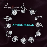 Anting Zodiak Wanita Titanium Model Kristal Crystal Anti Karat