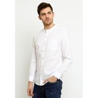 Arnett Baju Pria Kemeja Lengan Panjang Putih.