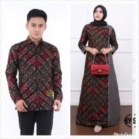 Baju dress couple super jumbo ld 130 batik sarimbit kemeja pria motif