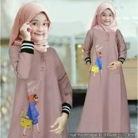 Baju Gamis Anak Perempuan Muslim Syar'i Lebaran Umur 6-8 Thn DELILAH