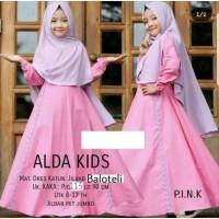 Baju Gamis Anak Perempuan Muslim Syar'i Lebaran Umur 8-12 Tahun ALDA