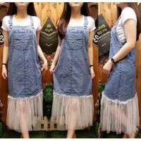 Baju kodok/overall wanita bahan jeans kombi tile di bawah