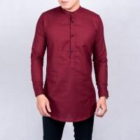 Baju Koko Kurta Kemeja Pria Kurta Pakistan Baju Muslim Merah Maroon