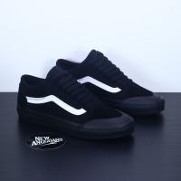 Sepatu Vans Old Skool Style 36 Decon SF Full All Black List White