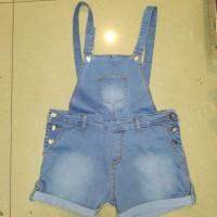 baju kodok overall jeans light blue hotpants ripped sobek