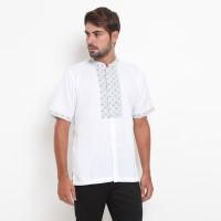 YEGE - Atqa Men Shirt White - Kemeja Koko Lengan Pendek Putih Pria