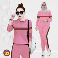 LM 03860 Baju Setelan Wanita Training Garis Termurah, Terkini ( XXL )