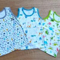 Paket 3 PCS LittleQ Kaos Kutung Motif Bayi Balita Baju Lekbong Anak