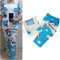Set Baju Piyama Kerah Kotak / Pajamas /Setelan Baju Tidur Perempuan