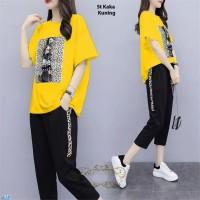 St Kaka kuning /Setelan Baju Wanita Lengan Pendek/Baju+celana Panjang