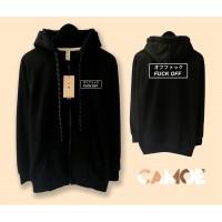 Jaket Hoodie Zipper Premium Desain Fak Fuk off Of Japan Jepang