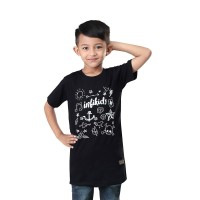 baju anak laki laki hitam bergambar kaos anak cowo pendek INFI-354